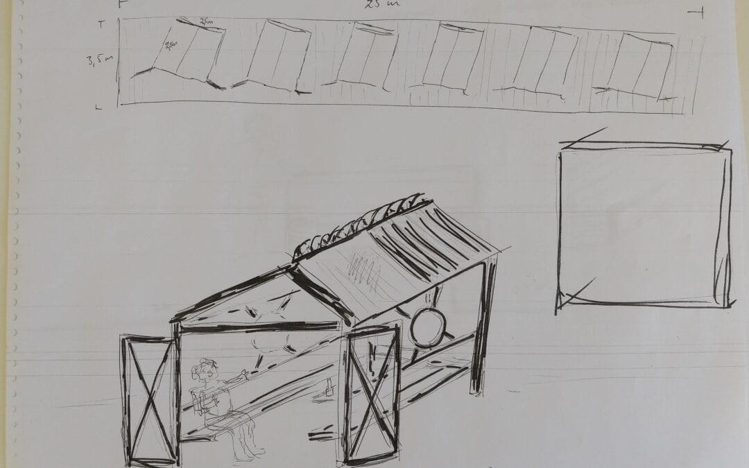 Skisser badhytter och sandstopp
